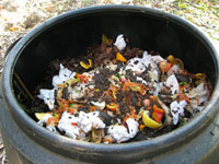 Chook pellets in compost bin
